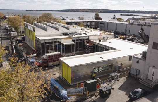 Looking southeast beyond the new Center for Maine Contemporary Art toward the vast expanse of Rockland Harbor. The museum opens late June 2016. (Courtesy the Center for Maine Contemporary Art)