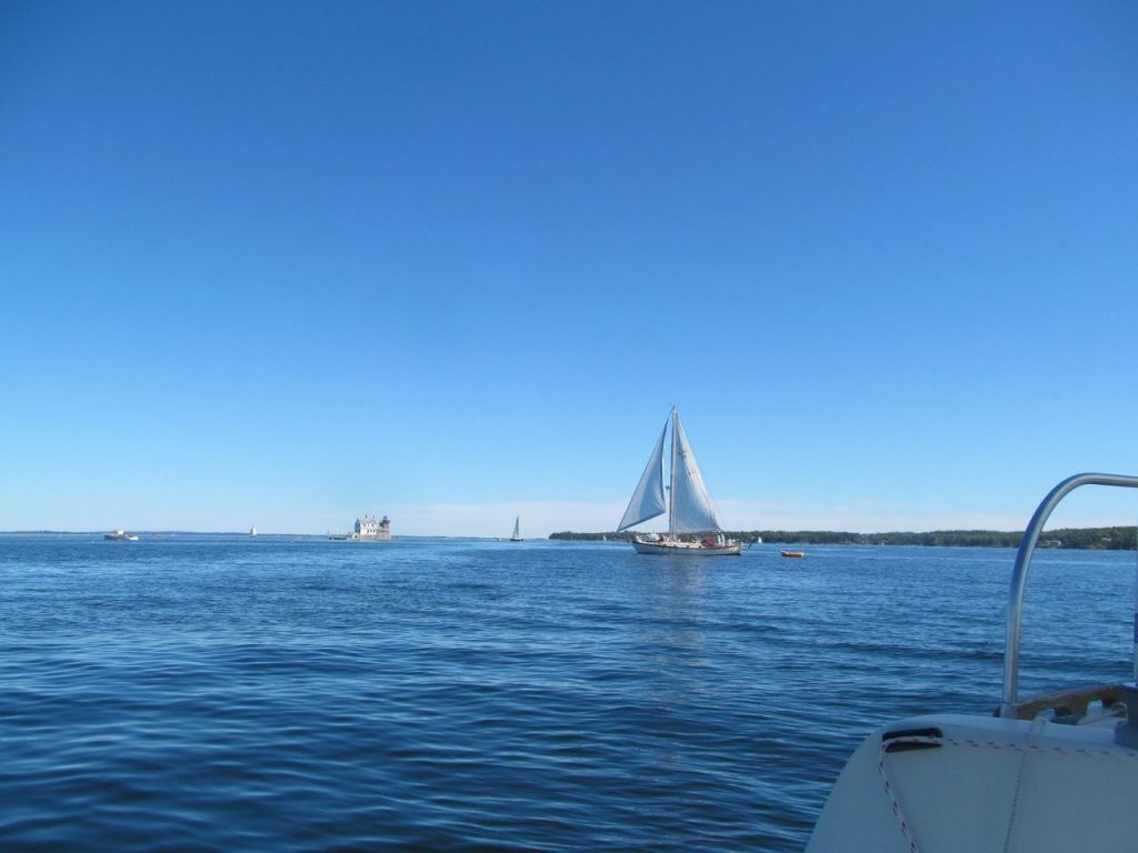 Looking east from the edge of mooring field C back toward the Rockland Breakwater Lighthouse.